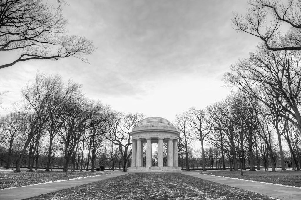 washington dc, dc war memorial, trees, sunset, memorial, lines, clouds,