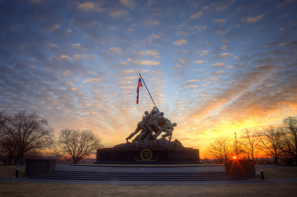 iwo jima, memorial, arlington, va, battle, virginia, landscape, sunrise, visit va, love va, weather, war, american flag,