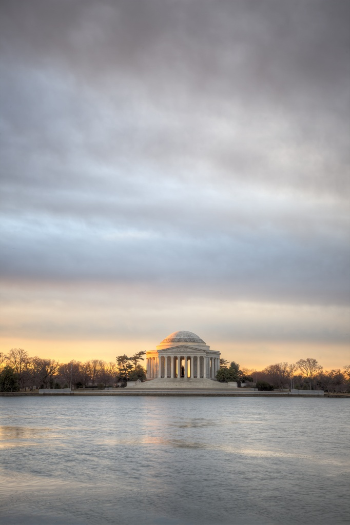 jefferson memorial, sunrise, early morning light, visit, washington dc, clouds, trees, tidal basin,