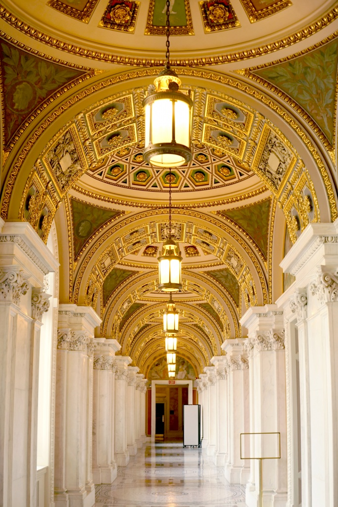 library of congress, loc, washington dc, interior architecture, interior, gold, architecture, arches, dc, congress, government
