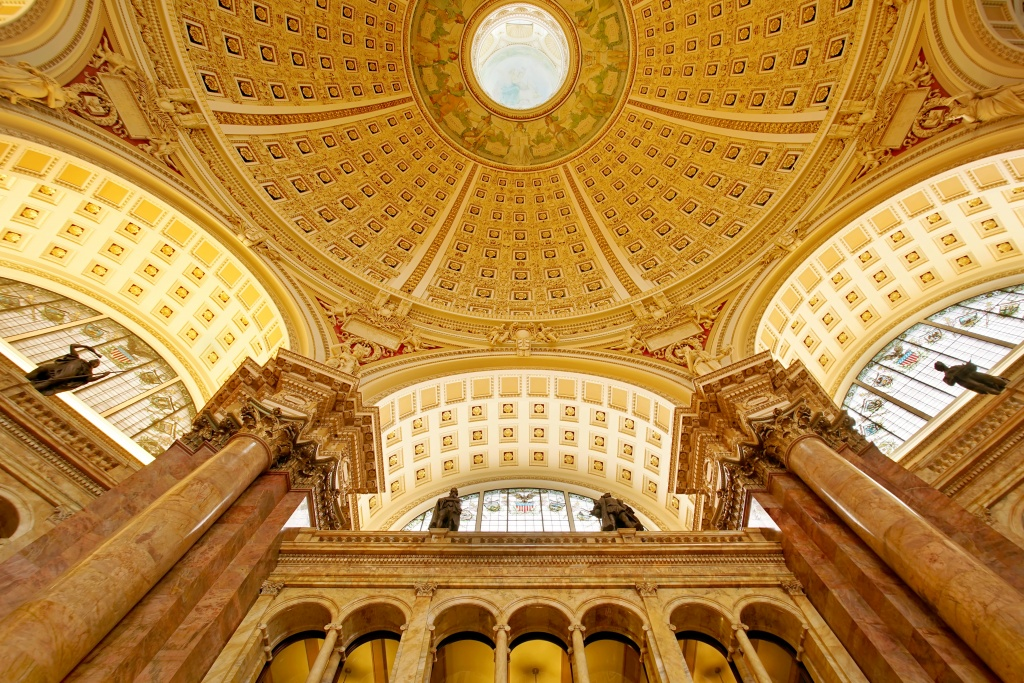 library of congress, reading room, library, interior architecture, gold, archs, lines, circles, washington dc, presidents day