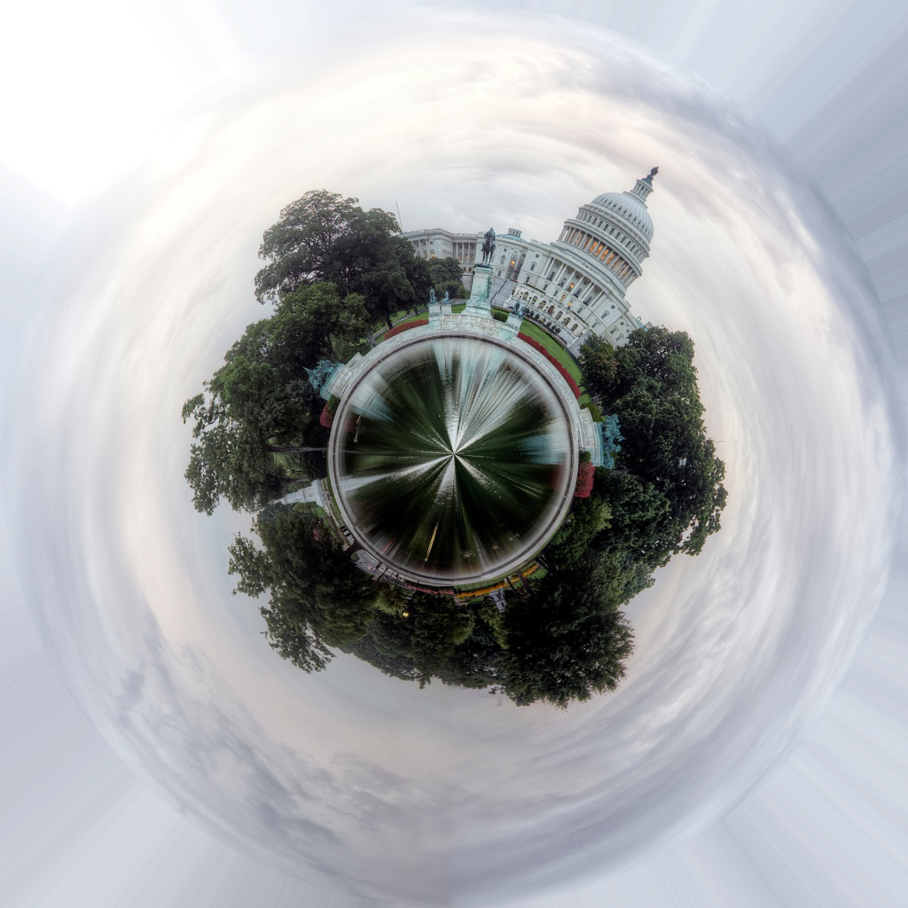 washington dc, capitol, us capitol, panosphere, planet, trees, government, congress, clouds, angela pan,