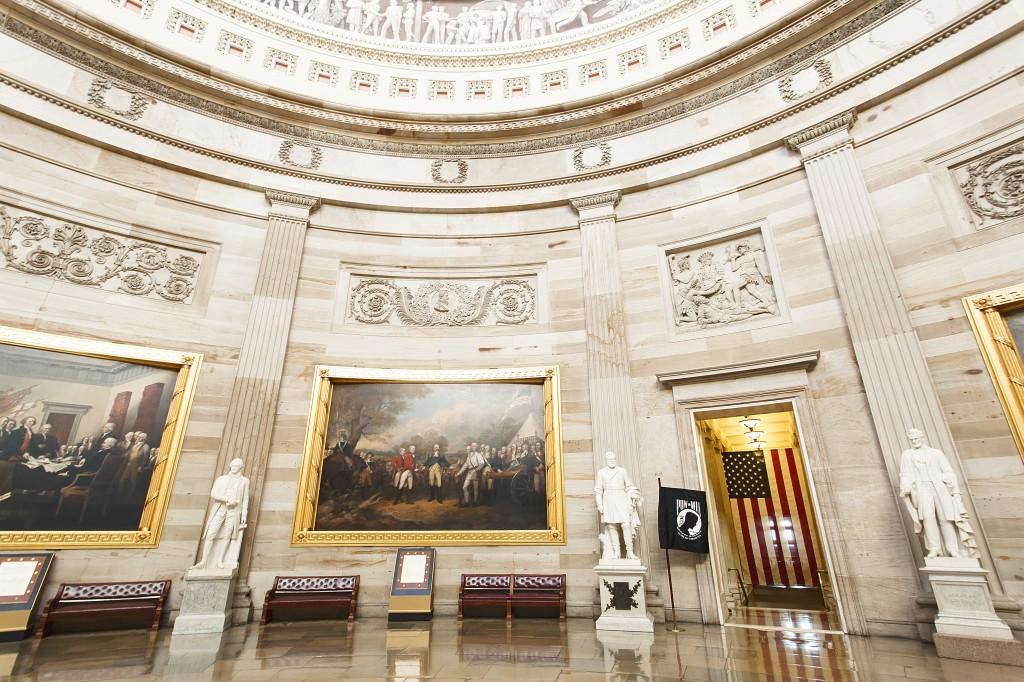 us capitol, statues, art, interior, architecture, government, american flag, interior