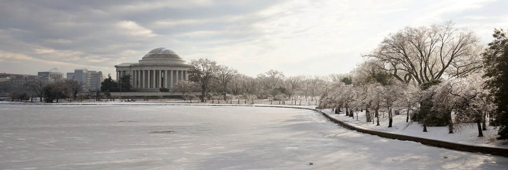 ice, snow, panoramic, tidal basin, washington dc, light, sun, melt, weather