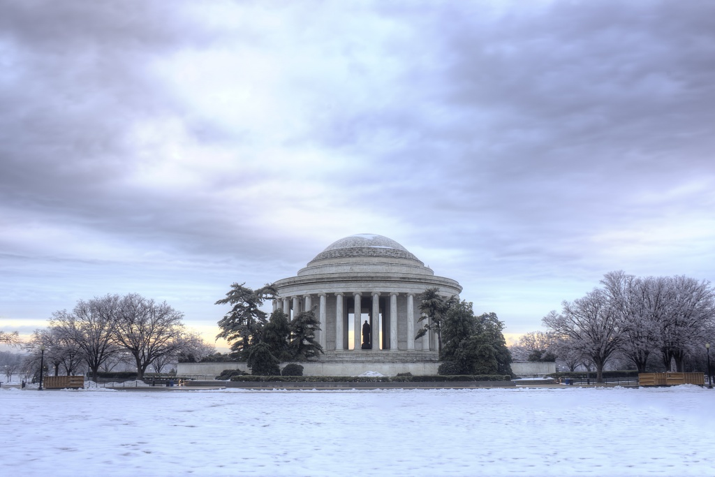 jefferson, memorial, washington dc, sunrise, snow, ice, landscape, tidal basin, trees