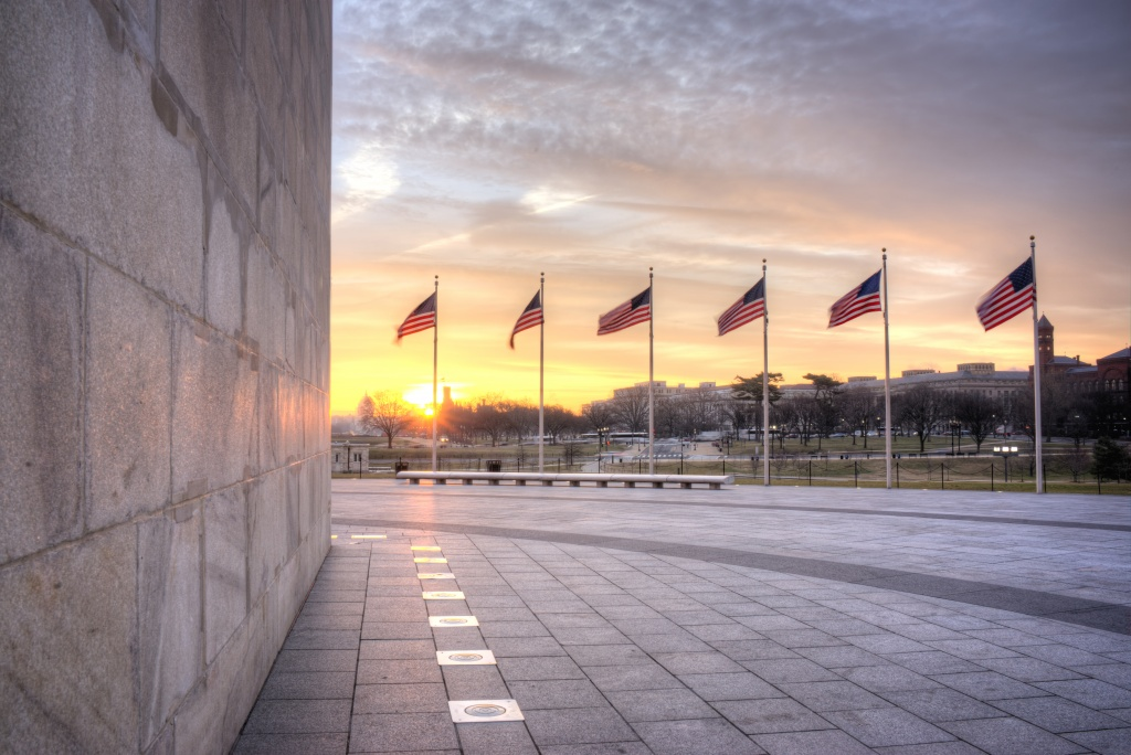 washington monument, washington dc, sunrise, american flags, clouds, dc, visit, my favorite place, lights, sun, early morning light