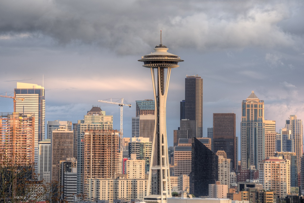 kerry park, seattle, washington state, skyline, space needle, sunset, buildings, architecture, visit, clouds, wind