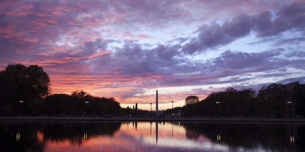 washington monument, washington dc, view from capitol, us capitol, silhouette, reflection, pool, clouds, trees,