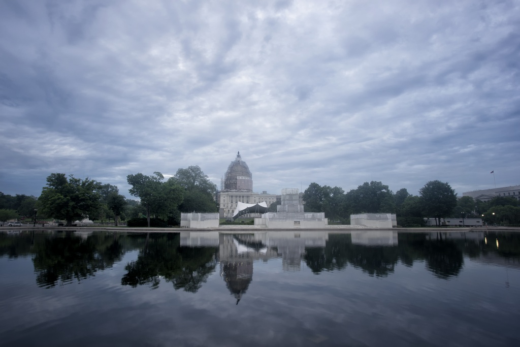capitol, nations capital, us capitol building, reflection, clouds, sunrise, construction, restoration,