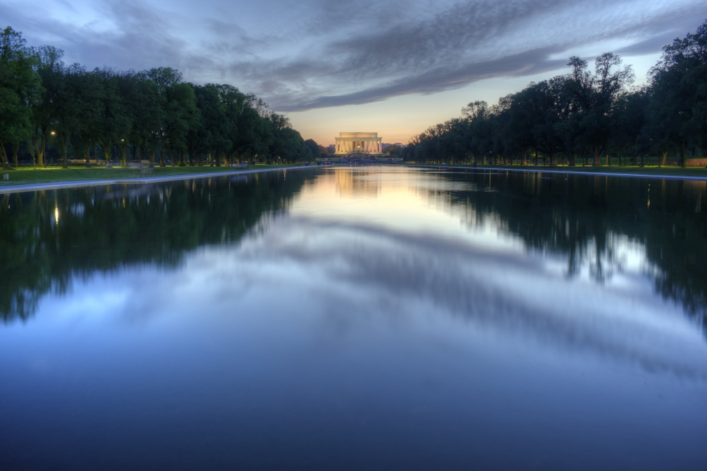 lincoln memorial, sunset, reflecting pool, clouds, washington dc