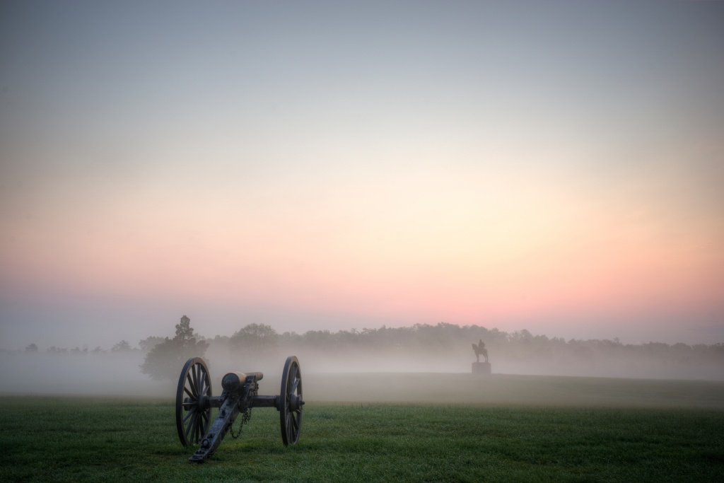 manassas, virginia, battlefield, va, foggy, sunrise, canon, statue, weapon,