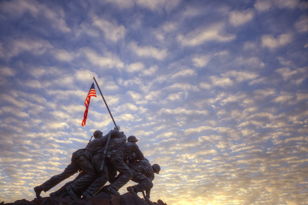 marine corp memorial, sunrise, clouds, american flag, arlington, virginia, va,