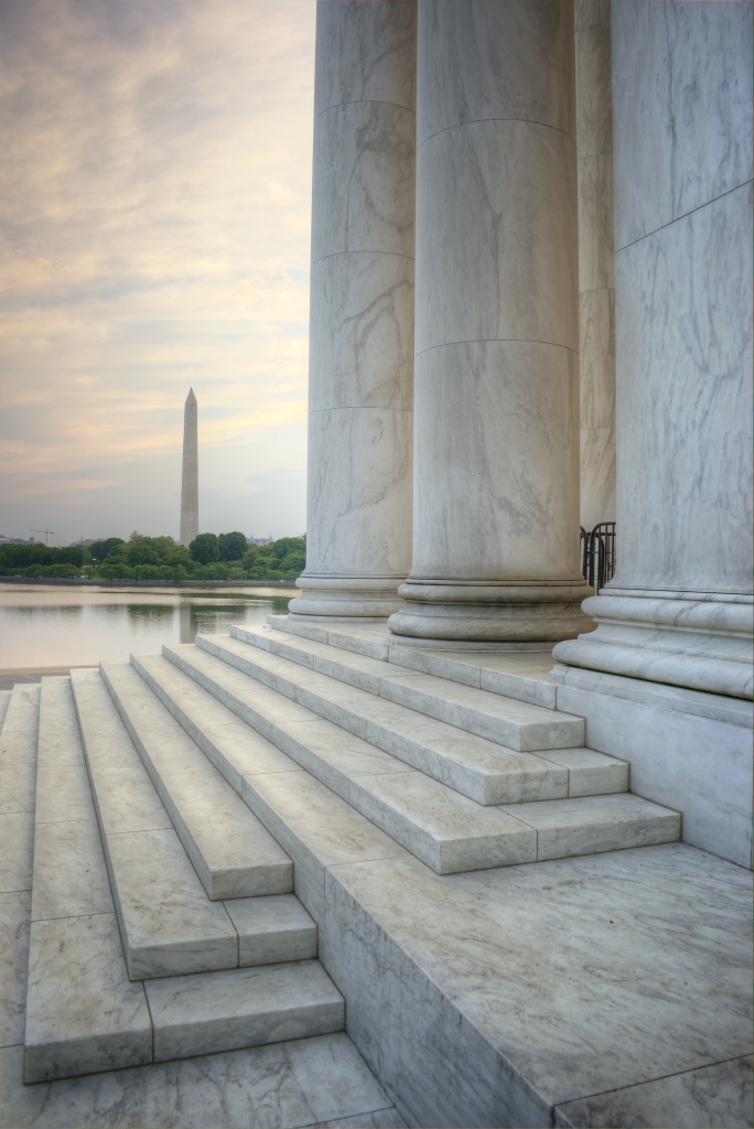 washington monument, architecture, jefferson memorial, steps, sunrise, washington dc, tidal basin, steps,