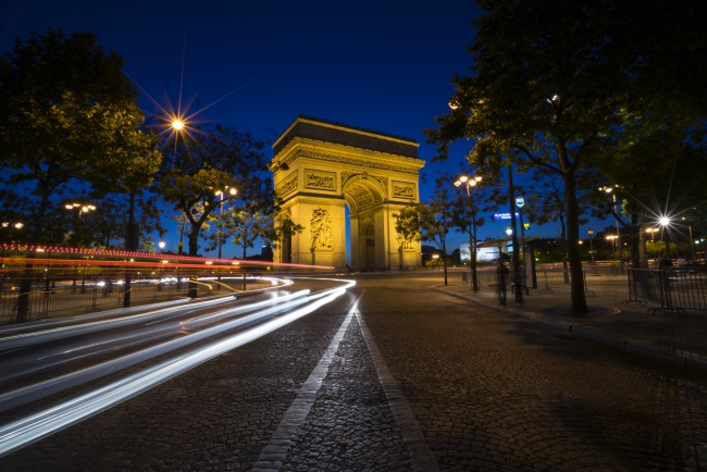arc de triomphe, france, paris, night, photography, architecture, cars, traffic, light, travel, long exposure