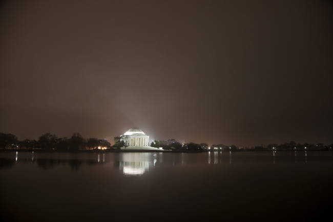 jefferson, memorial, night, fog, spotlights, reflection, tidal basin