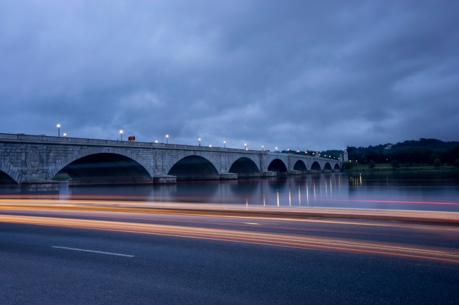 memorial bridge, arlington, virginia, va, light trails, washington dc, storm, visit, traffic, cars