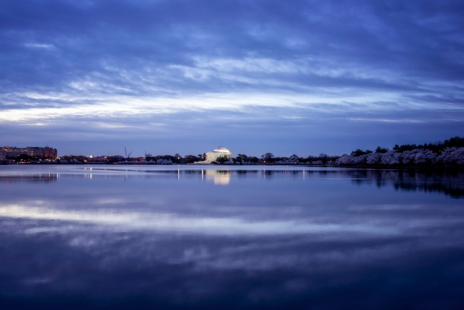 tidal basin, clouds, reflection, sunrise, washington dc,