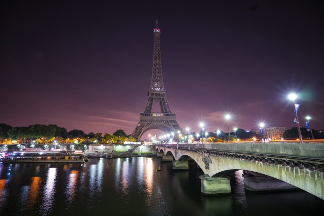 eiffel tower, night, long exposure, bridge, light, tour de eiffel, paris, france, vacation