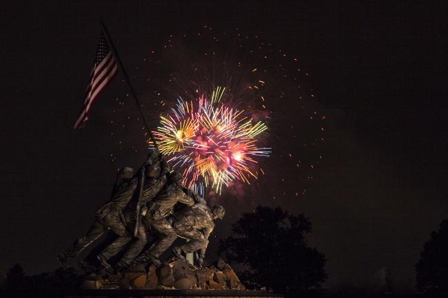 iwo jima, memorial, arlington, virginia, fireworks, july 4th, independence day, america, holiday