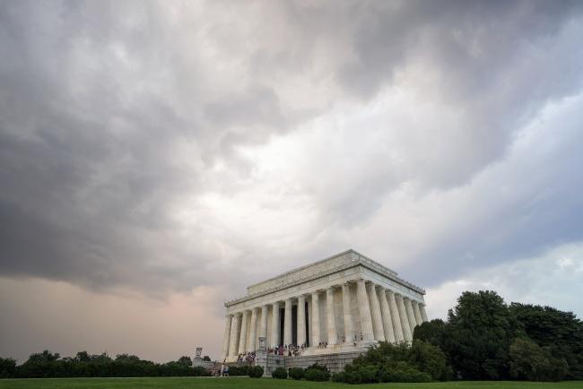lincoln memorial, washington dc, storm, sunset, clouds, weather, rain, tourist, visit, capital