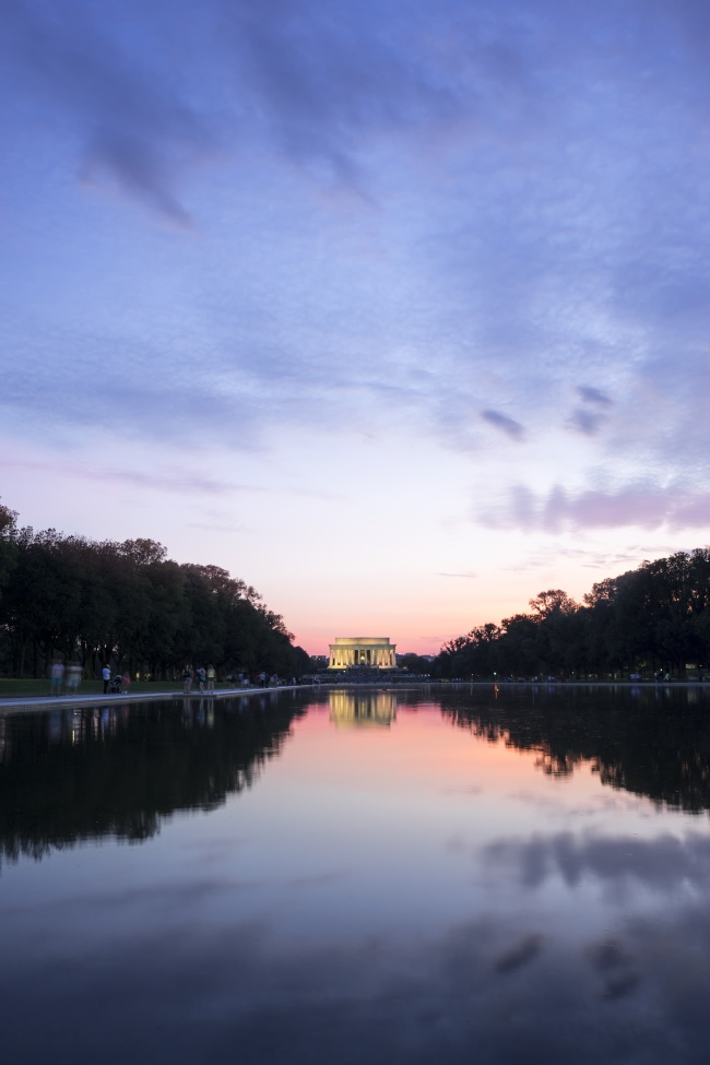 lincoln memorial, washington dc, reflection pool, clouds, trees, reflection, water, travel, summer, a new earth, eckhart tolle