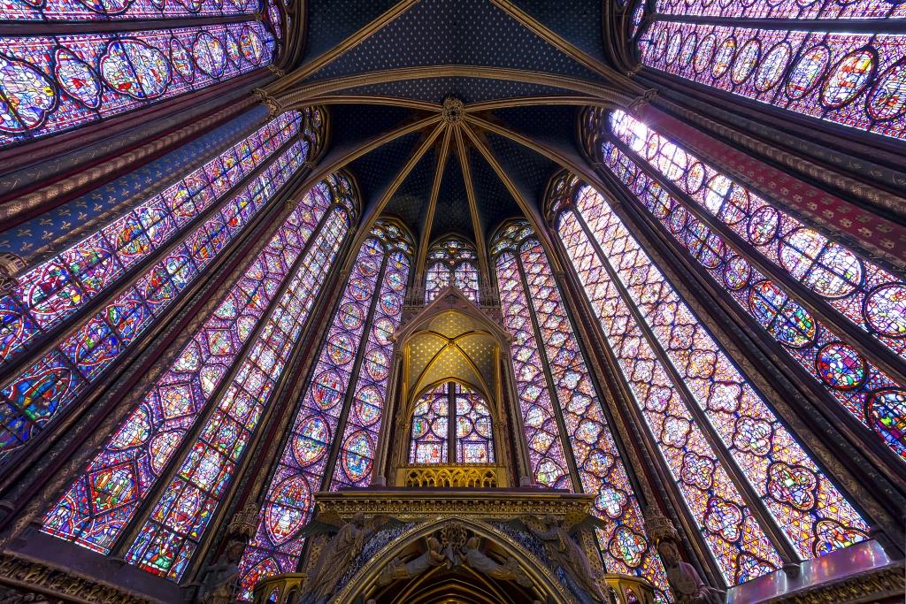 sainte chappelle, paris, france, chapel, gothic, stained glass windows, king louis, architecture