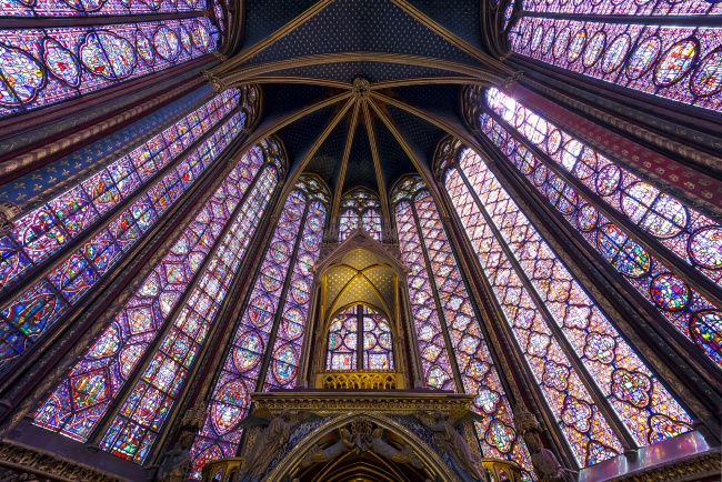 sainte chappelle, paris, france, chapel, gothic, stained glass windows, king louis, architecture