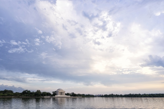 tidal basin, sunset, jefferson memorial, clouds, water, reflection, washington dc, district, walk, tour, visit