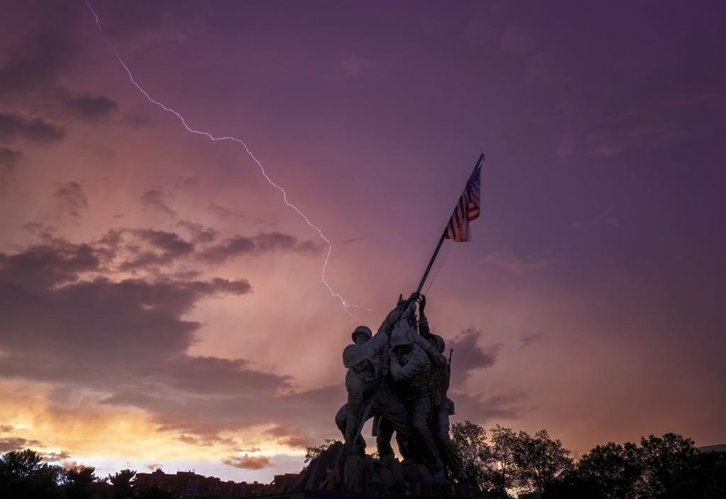 lightning strike, weather, storm, thunder, lightning, sunset, arlington, iwo jima, memorial,