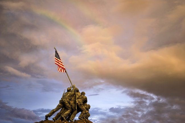 iwo jima, storm, lightning, rainbow, clouds, american flag, marine corp, weather, sunset, arlington, va, virginia