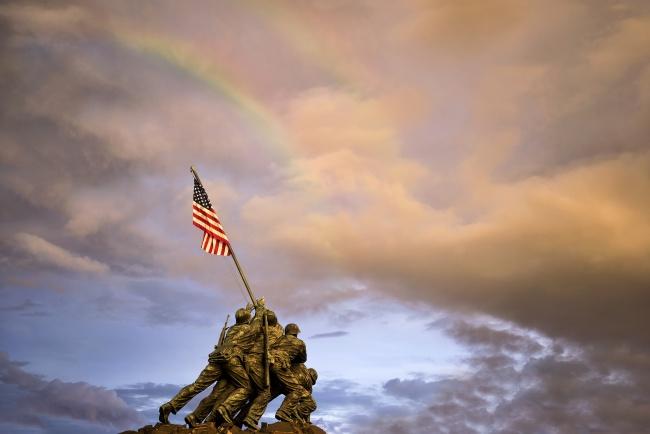 iwo jima, storm, lightning, rainbow, clouds, american flag, marine corp, weather, sunset, arlington, va, virginia