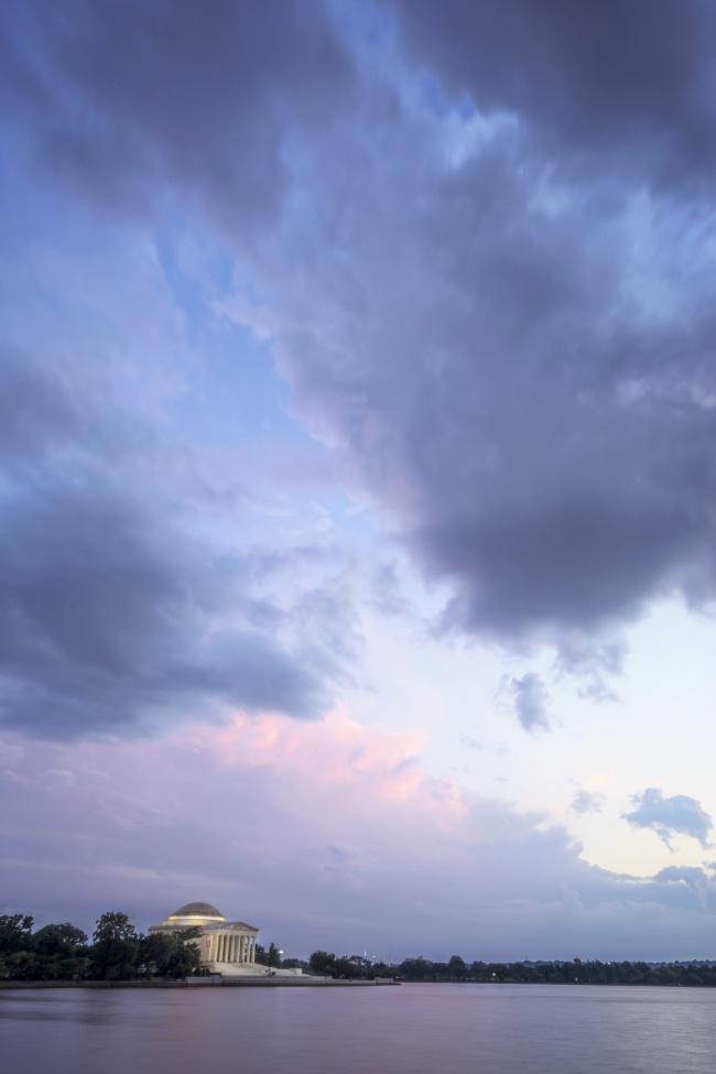 tidal basin, washington dc, jefferson memorial, sunset, clouds, storm, treyusa