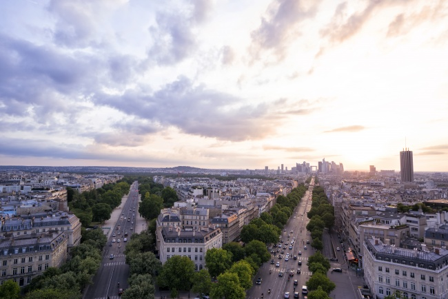 Paris, France, streets, arc de triomphe, sunset, trees, glow, clouds, sun, travel, tourist, fun