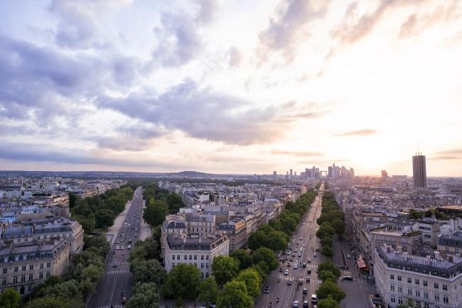 Paris, France, streets, arc de triomphe, sunset, trees, glow, clouds, sun, travel, tourist, fun