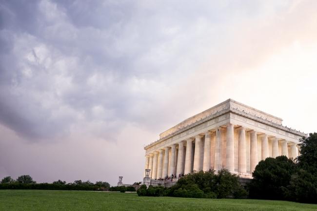 lincoln memorial, sunset, clouds, rain, storm, washington dc, weather, architecture,