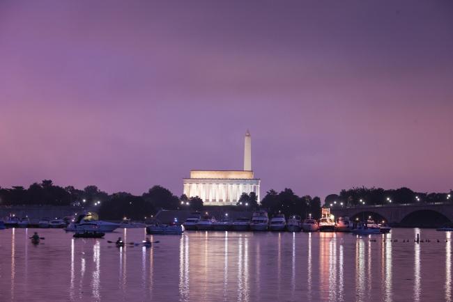 george washington parkway, washington dc, arlington va, reflection, boats, lincoln memorial, washington monument