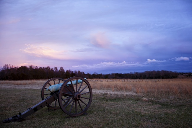 manassas, canon, virginia, sunset, dusk, war, canon, battlefield, park,