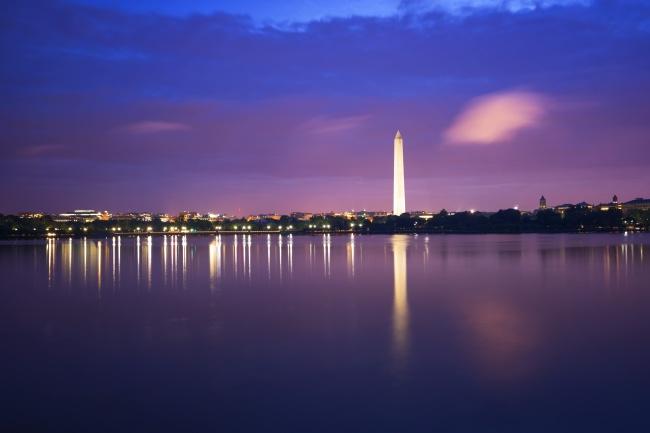 washington monument, sunrise, dawn, blue hour, cloud, tidal basin, reflection, washington dc,