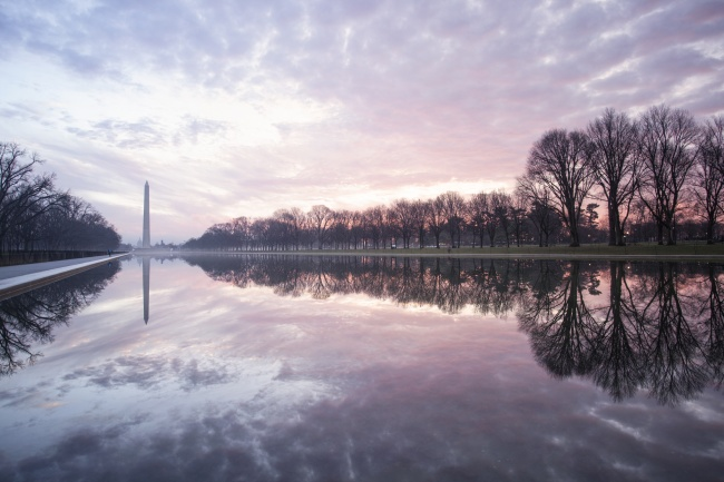 washington monument, reflecting pool, washington dc, the district, sunrise, clouds, weather, trees, reflection,