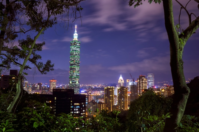 elephant mountain, taiwan, sunset, night, taipei 101, travel, mountain, trees, skyline