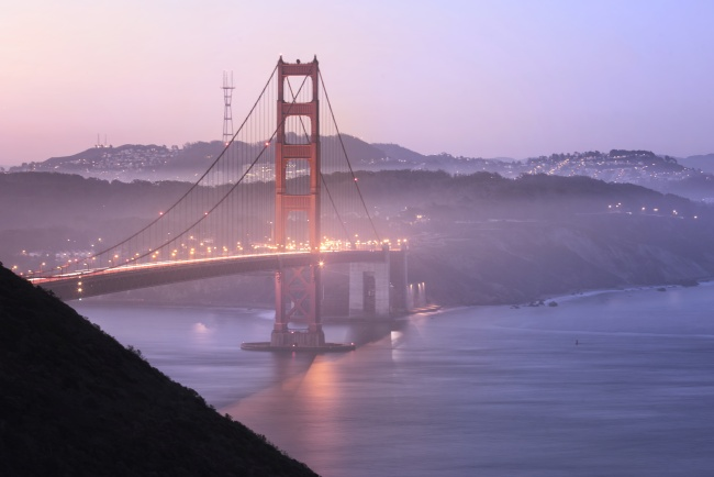 golden gate bridge, battery spencer, california, northern california, san francisco, sf, fog, early morning, purple