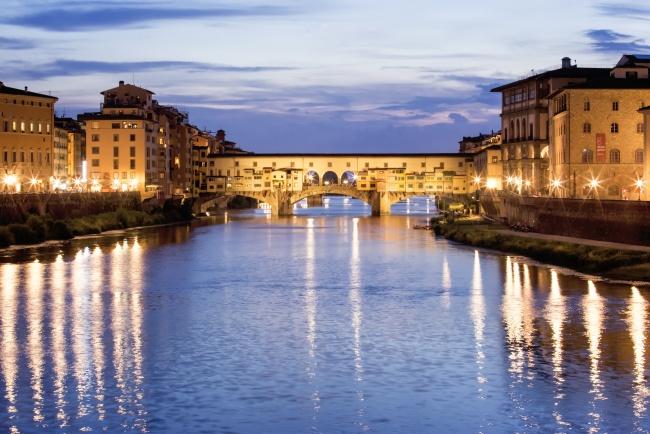 ponte vecchio, italy, florence, night, bridge, shopping, lights, reflection, travel, europe, italia,
