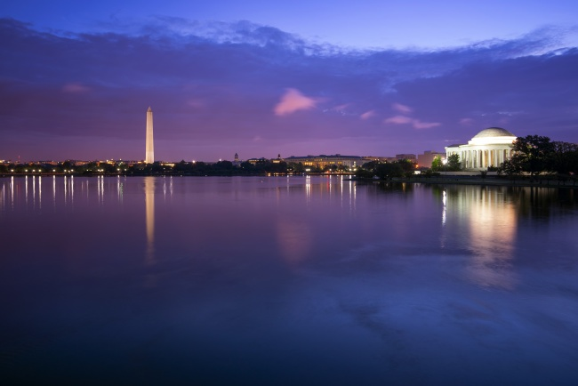 blue hour, washington dc, tidal basin, washington monument, cloud, jefferson memorial, weather, sunrise, reflection, water, blue