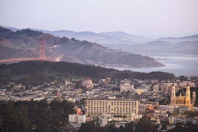 twin peaks, golden gate bridge, buildings, architecture, sunrise, early morning, san francisco, sfo, bay area