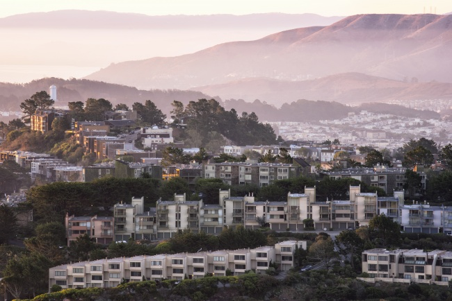 twin peaks, san francisco, homes, hills, california, ca, visit, travel, sunrise, bay area