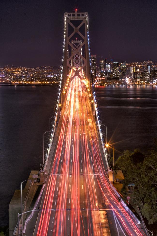 yerba buena, san francisco, marin county, night, bay area, bay bridge, car, light trails,
