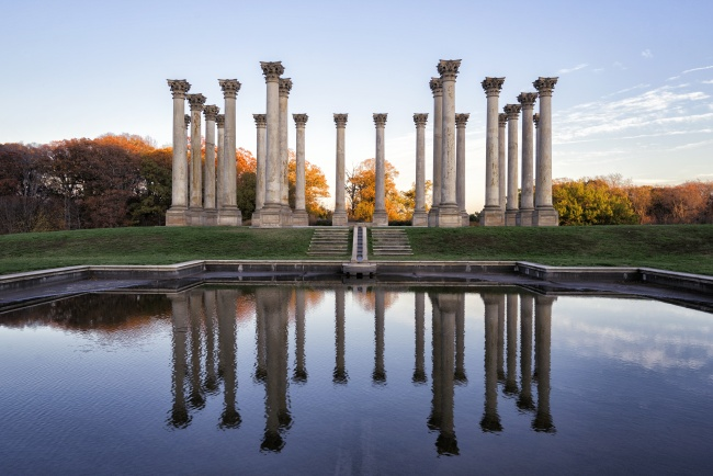 Capitol Columns, washington dc, arboretum, cointhian, orignial united states columns, north east, ne, washington dc, reflection, new york ave