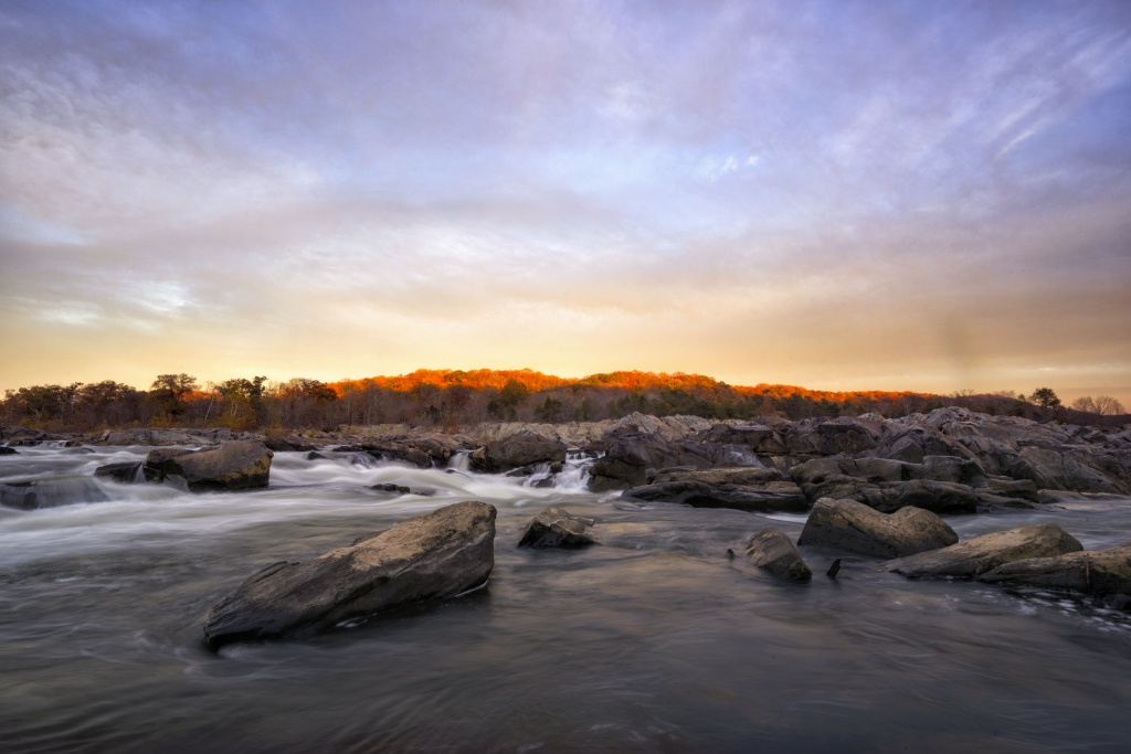 great falls, maryland, md, virginia, va, sunset, autumn, fall, landscape, red, water, rocks, park,