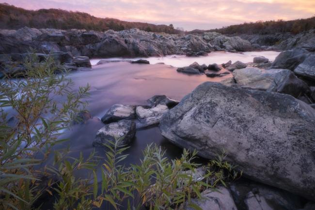great falls, national park, sunset, rocks, water, virginia, va, reflection, pink