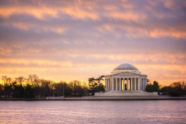 jefferson memorial, pink, sky, sunrise, the choice, washington dc, visit, tour, walk, sites, sights, monument, president, architecture
